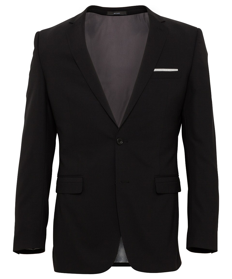 Black Wool 2 Button Single Breasted Suit Jacket