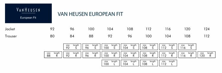 Van Heusen European Fit Suit and Trouser Size Grids