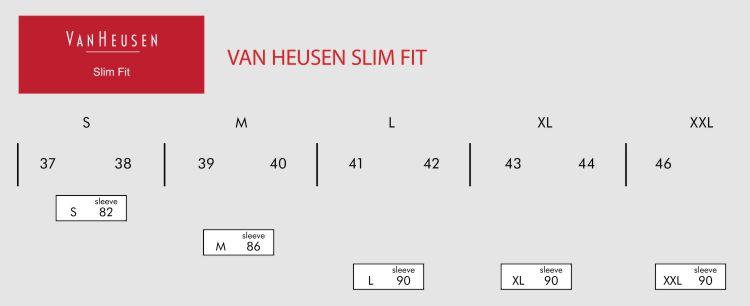 2b4d833238 ... Van Heusen Slim Fit Shirts Size Grids